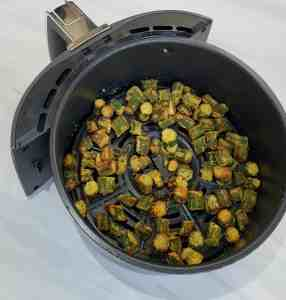 Fried okra in air fryer basket