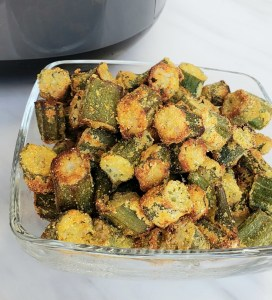 glass bowl of fried okra