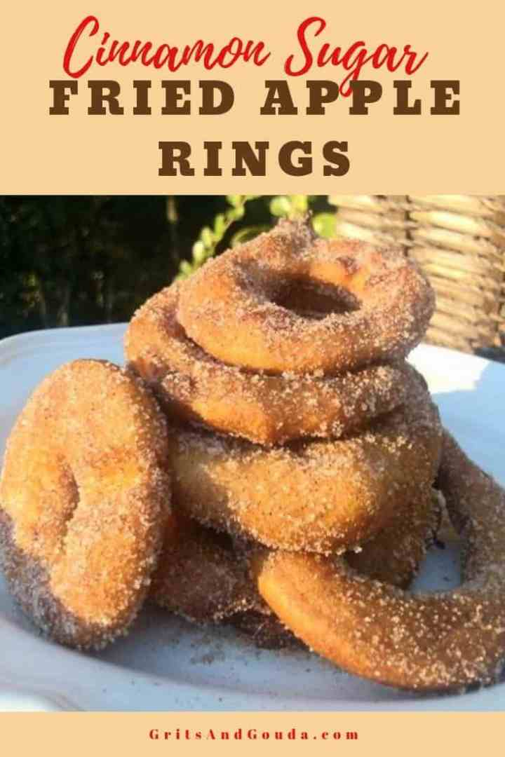 Cinnamon sugar fried apple rings shot outside lighting