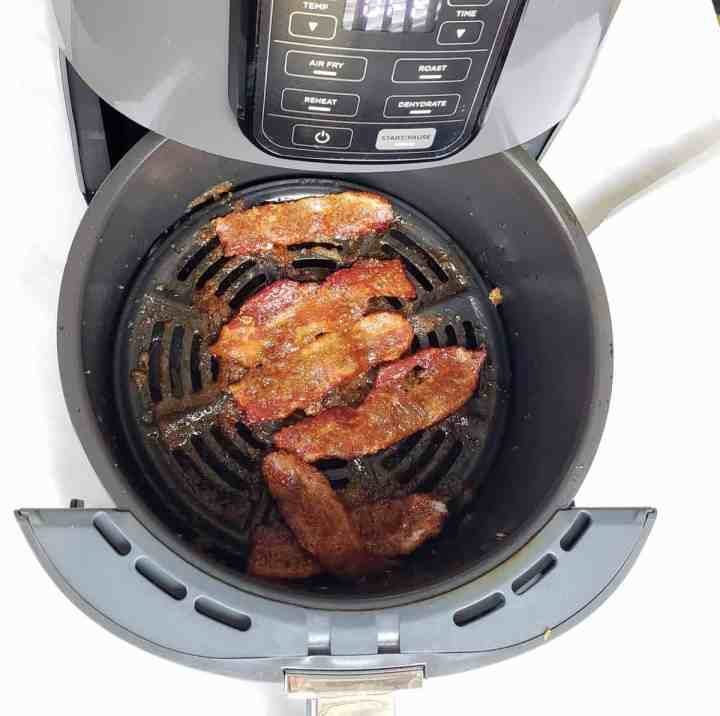 Air Fryer basket with candied bacon