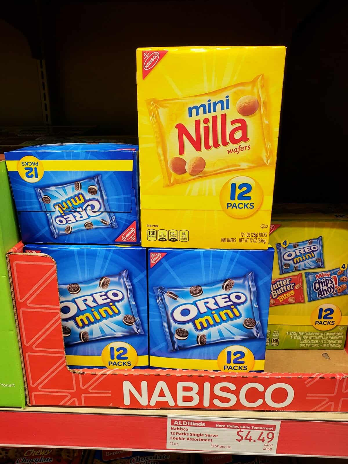 Nabisco multi pack cookies stacked with Aldi sign