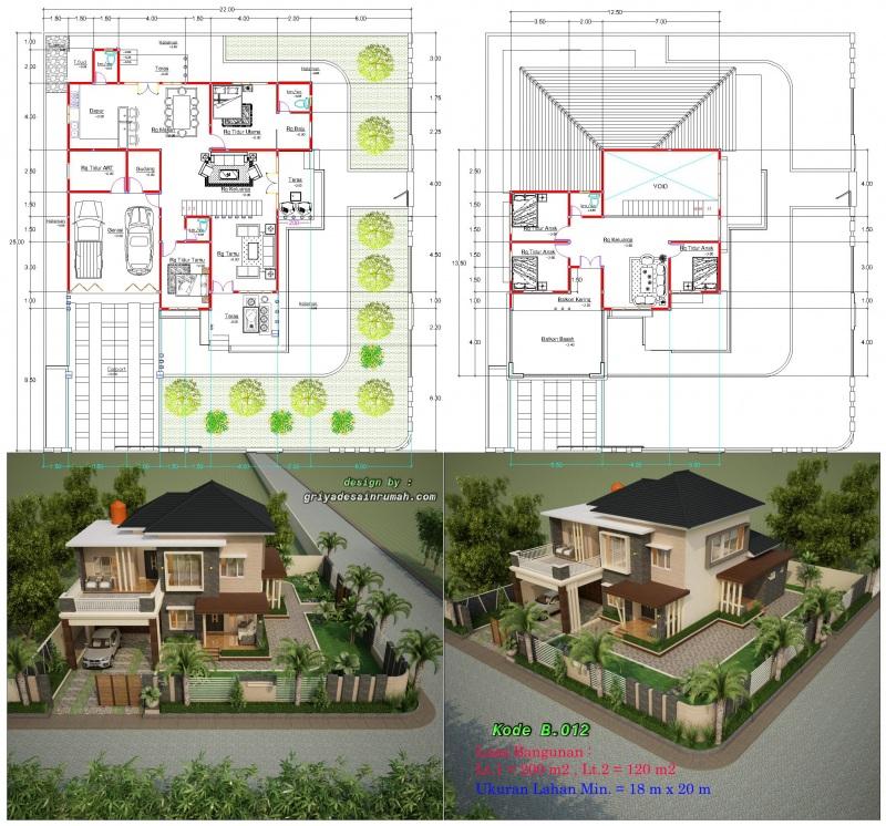 Rumah 2 Lantai Mewah Lebar 18 x 20 Meter  Jasa Desain Rumah