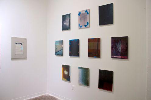 Jacob Lunderby, Untitled Inkjet prints on mylar, enamel on panel, instalation view