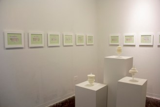 Installation view: Laura Splan, Manifest, (on pedestals) and Gail Wight, Recursive Mutations, (on wall)