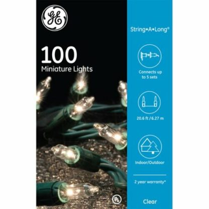 GE 100 Clear Incandescent String Light Green Wire
