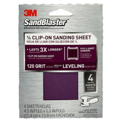 3M SandBlaster Sandpaper 4.5 Inch X 5.5 Inch 120 Grit