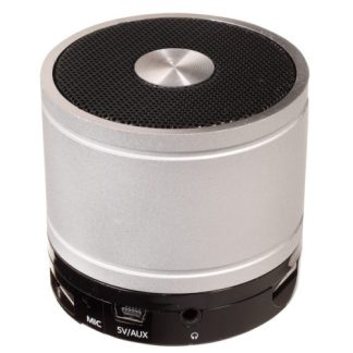 Silver Circular Bluetooth Wireless Portable Speaker with Mic Rechargeable Battery PL-4404