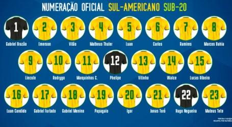 CBF divulga numeração oficial da Seleção Sub-20 no Sul-Americano