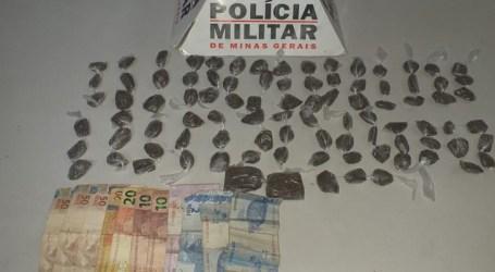 Dupla flagrada com 90 buchas e dois tabletes de maconha em Nova Serrana