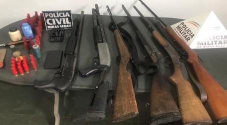 Três presos com armas, munições, maconha, dinheiro e celulares durante operação conjunta em Papagaios