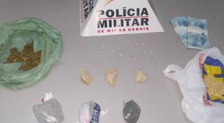 Trio suspeito de tráfico é preso com 49 pedras de crack, maconha em dinheiro no Santos Dumont