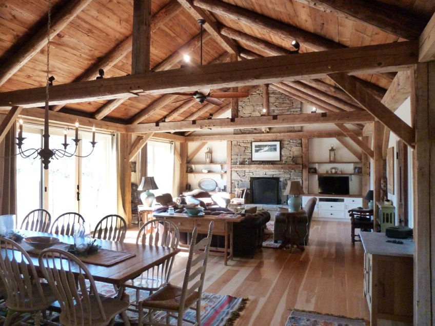 post and beam architecture in historic great room  Green