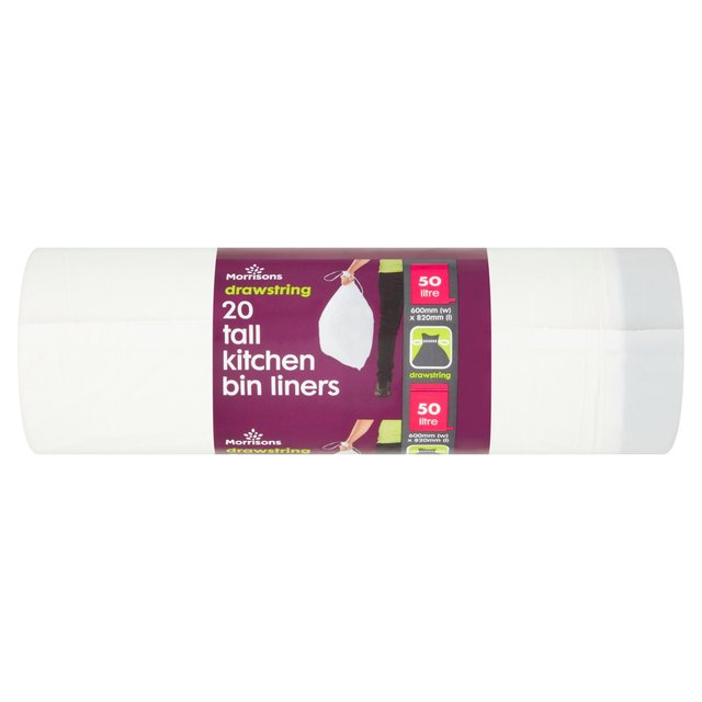 tall kitchen bin white faucet pull down morrisons 50l drawstring waste liners 20 per pack