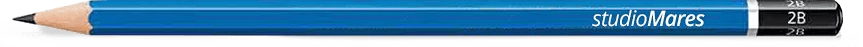 blauw potlood met bedrukking studioMares.
