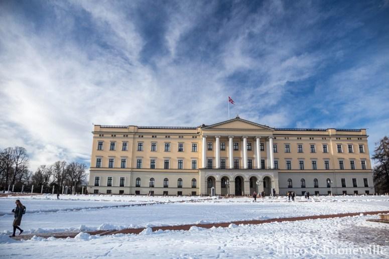 De buitenzijde van het paleis of Slottet Oslo.