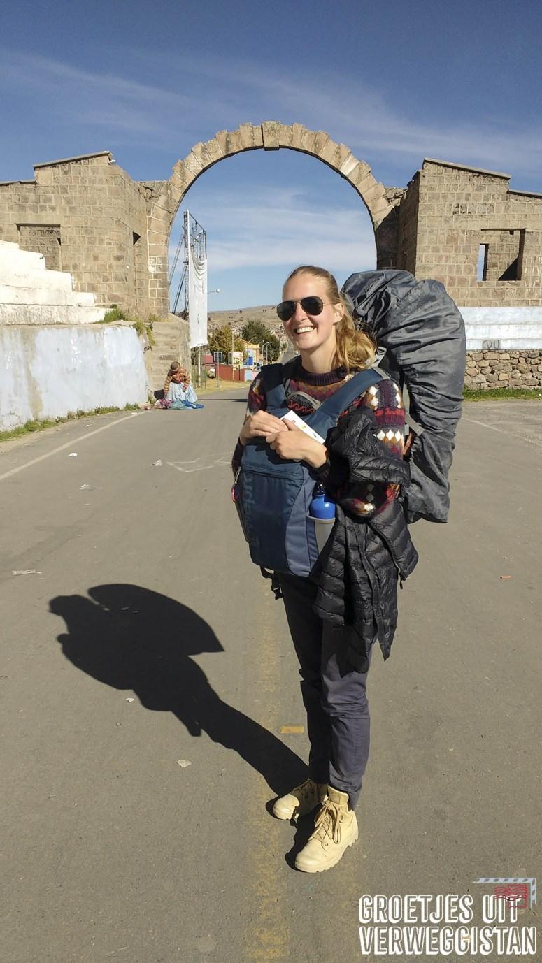 Manouk voor de grens tussen Bolivia en Peru