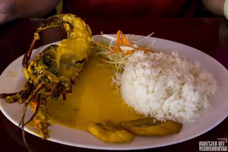 Een kreeft in gele saus met rijst: goedkoop eten op Santa Cruz op Charles Binford.