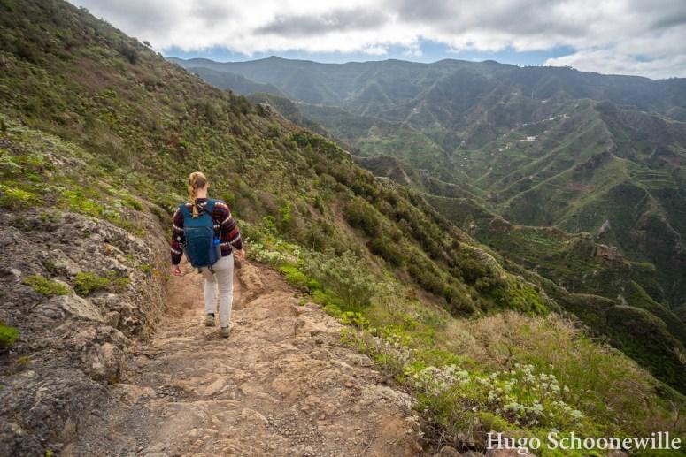 Wandelend door natuurpark Anaga op Tenerife met veel groen en uitzichten