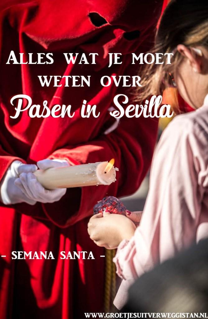 Een nazerino druppelt kaarsvet op de kaarsvetbal van een meisje tijdens Semana Santa, de week voor Pasen in Sevilla. Met tekst: 'Alles wat je moet weten over Pasen in Sevilla'.