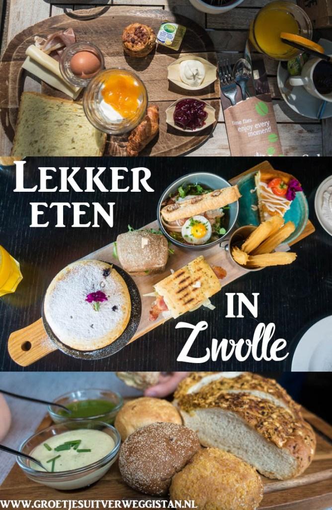 Pinterestafbeelding: verschillende foto's van eten in restaurants in Zwolle