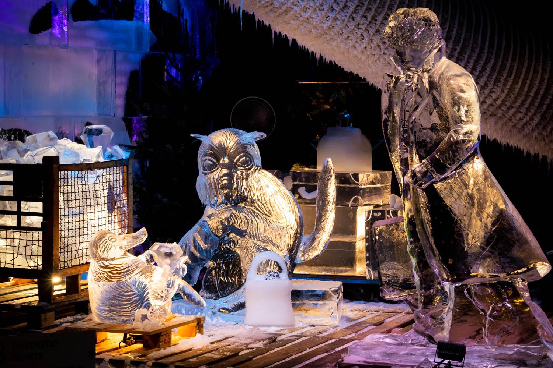 Fantastic Beasts ijssculpturen bij Frozen Magic in Scheveningen