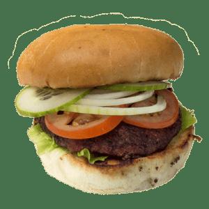 Äkta hamburgare av kött, salt och peppar