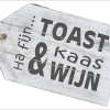 WoodArt houten dienblad label antique white toast kaas en wijn