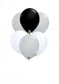 six balloons on ribbon