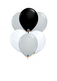 six balloons on ribbon