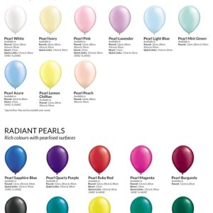 Picture of Qualatex balloons, sizes and colours