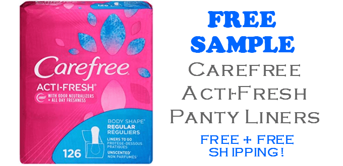 Carefree ActiFresh Panty Liners FREE SAMPLE
