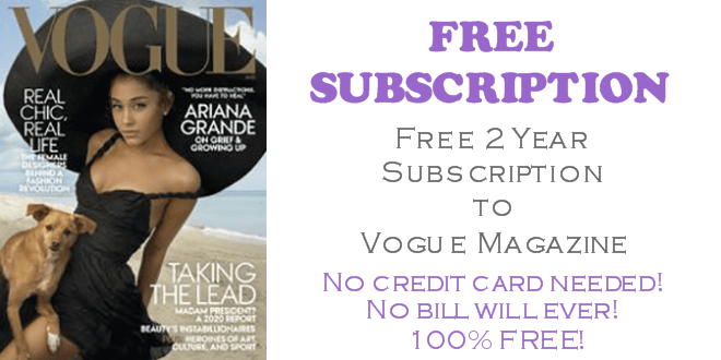 Vogue Magazine FREE 2 Year Subscription