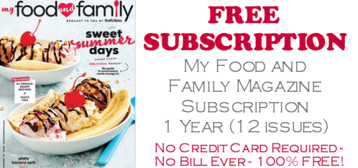 My Food and Family Magazine FREE SUBSCRIPTION