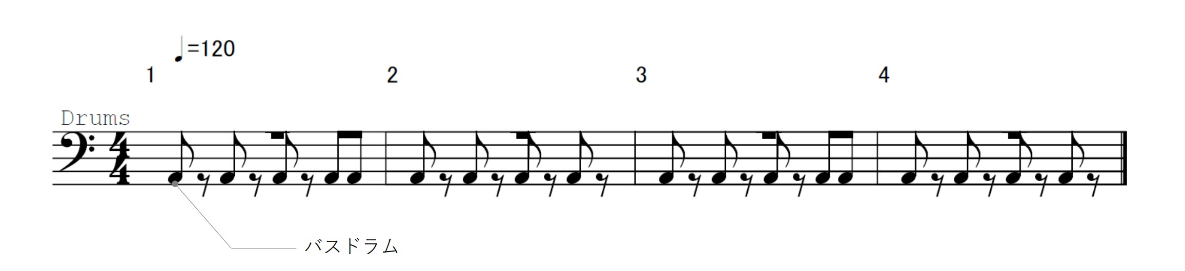eight beat sample of voice percussion using the bass drum