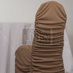 Ruched Chair Covers Bar Height Patio Chairs Tan Cover Groovy Linen Trendy Ottawa Rentals