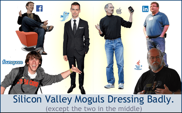 Men's style in Silicon Valley: Our moguls dressing badly.