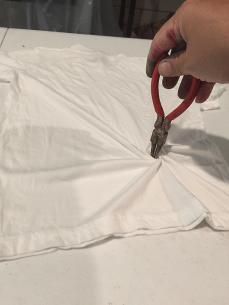 Child's shirt, off center spiral.