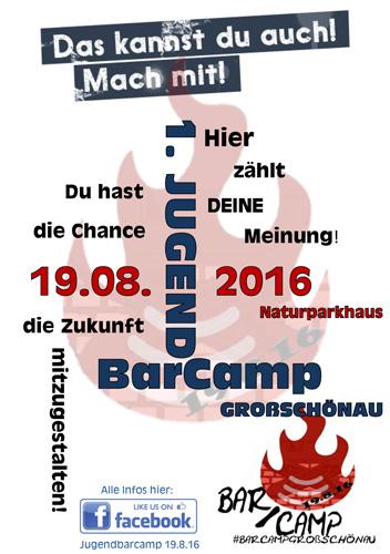 Flyer: 1 Jugendbarcamp in der Gemeinde Großschönau