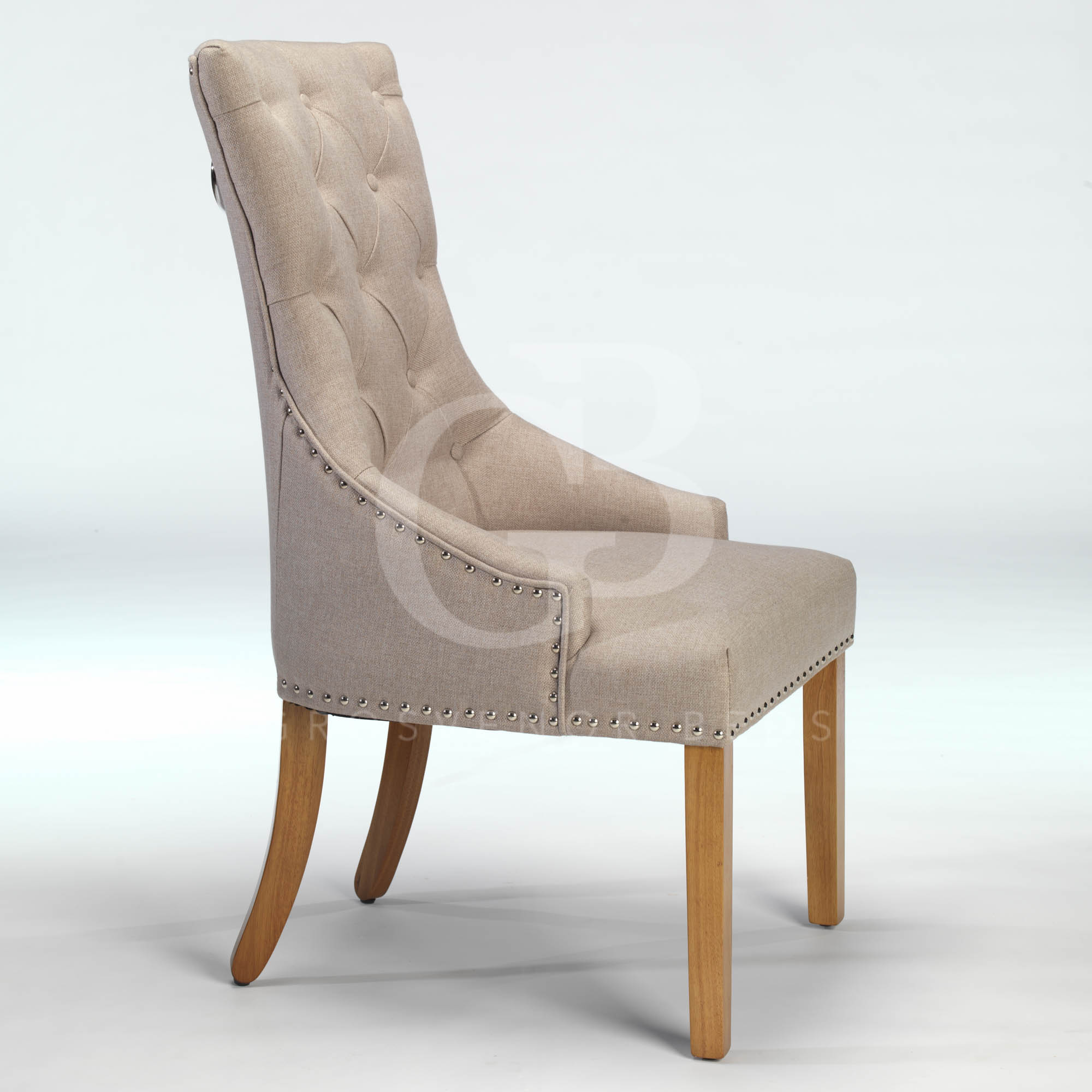 ring back dining chair baxton studio rocking new upholstered buttoned with studs