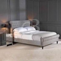 Premium Upholstered Linen Chesterfield Bed in Double King ...