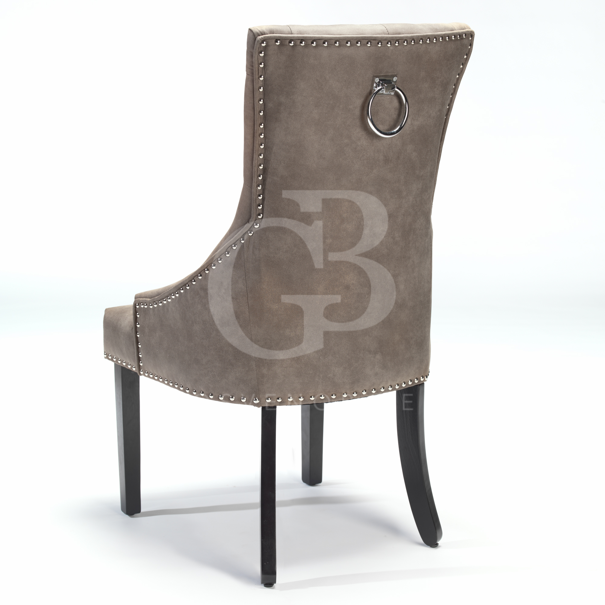 upholstered scoop back dining chairs ergonomic chair victoria bc new buttoned with studs