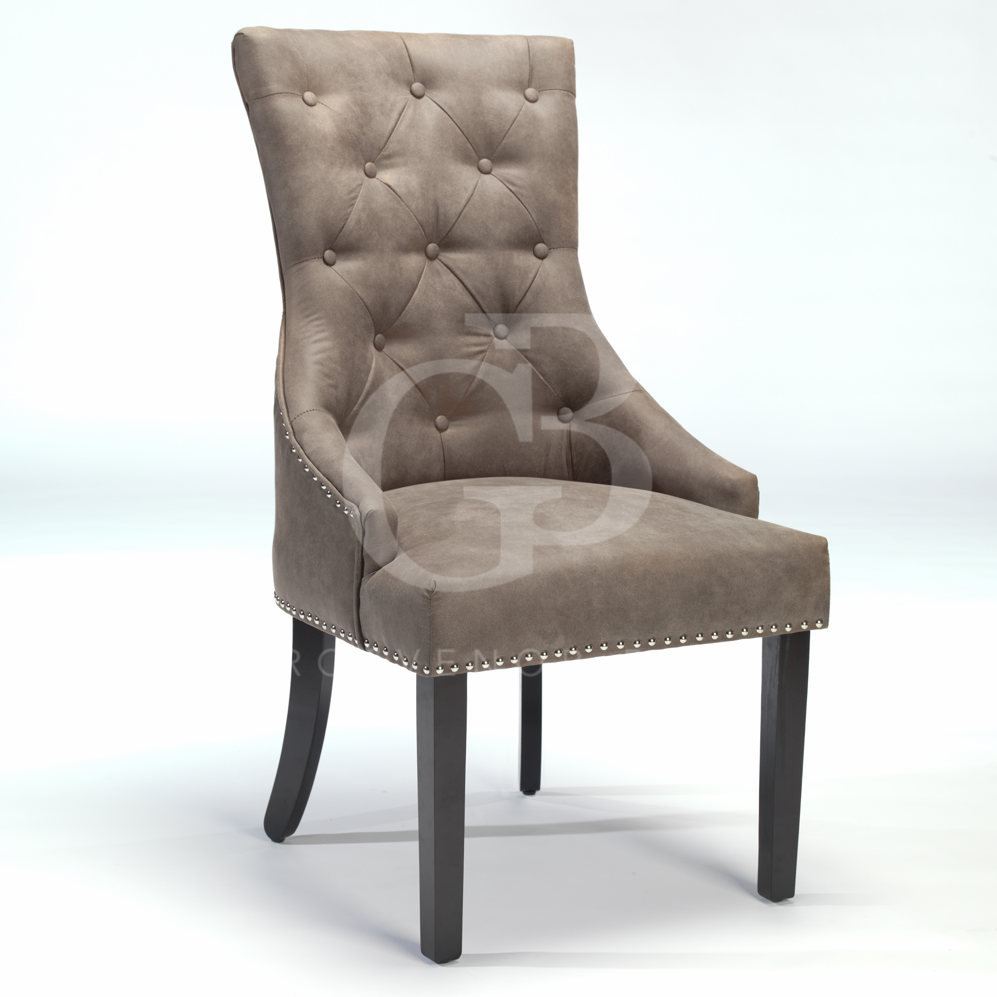 upholstered scoop back dining chairs percival lafer chair new buttoned with studs