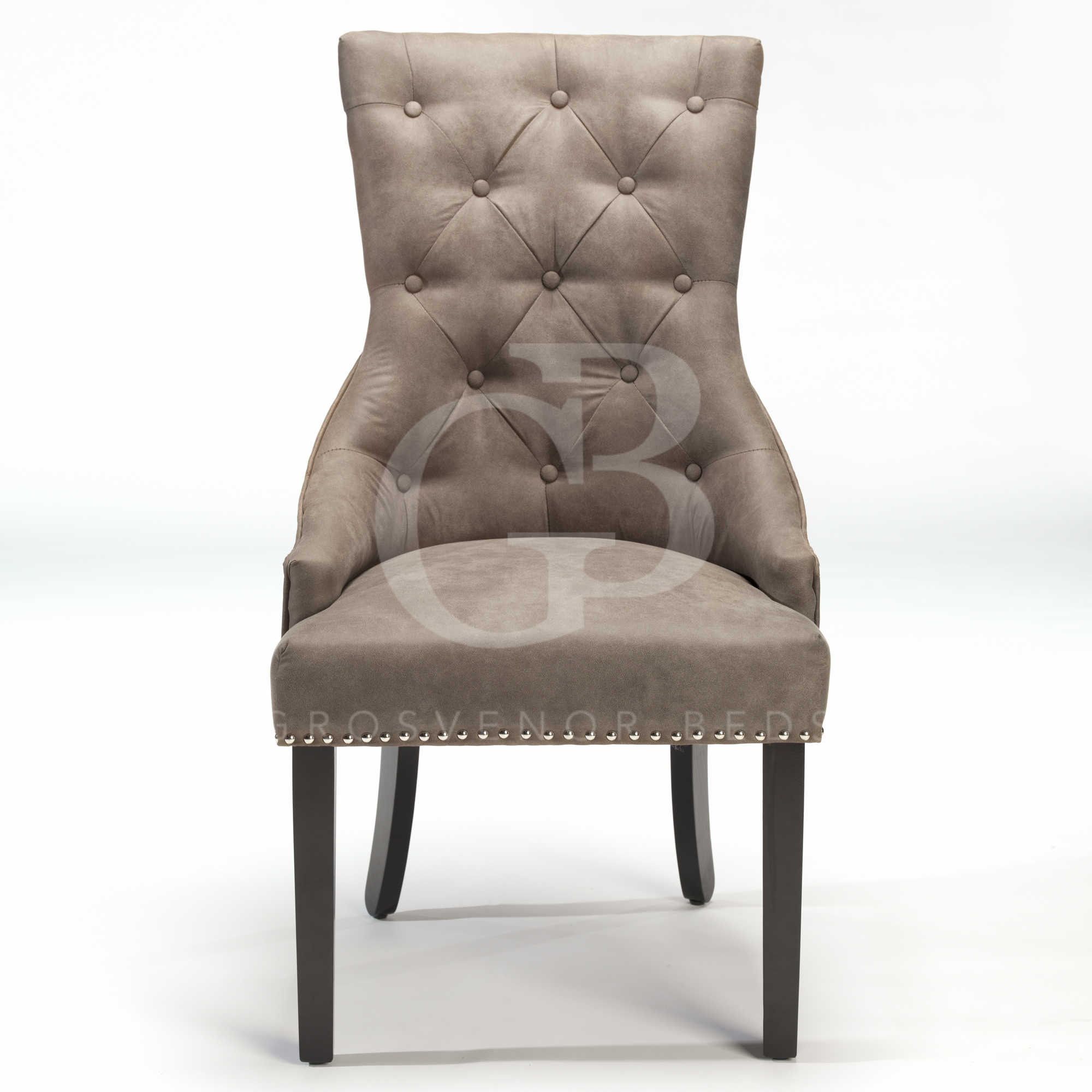 upholstered scoop back dining chairs support chair for bed new buttoned with studs