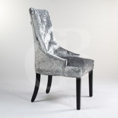Scoop Back Upholstered Dining Chairs Simple High Chair Silver Crushed Velvet With Chrome