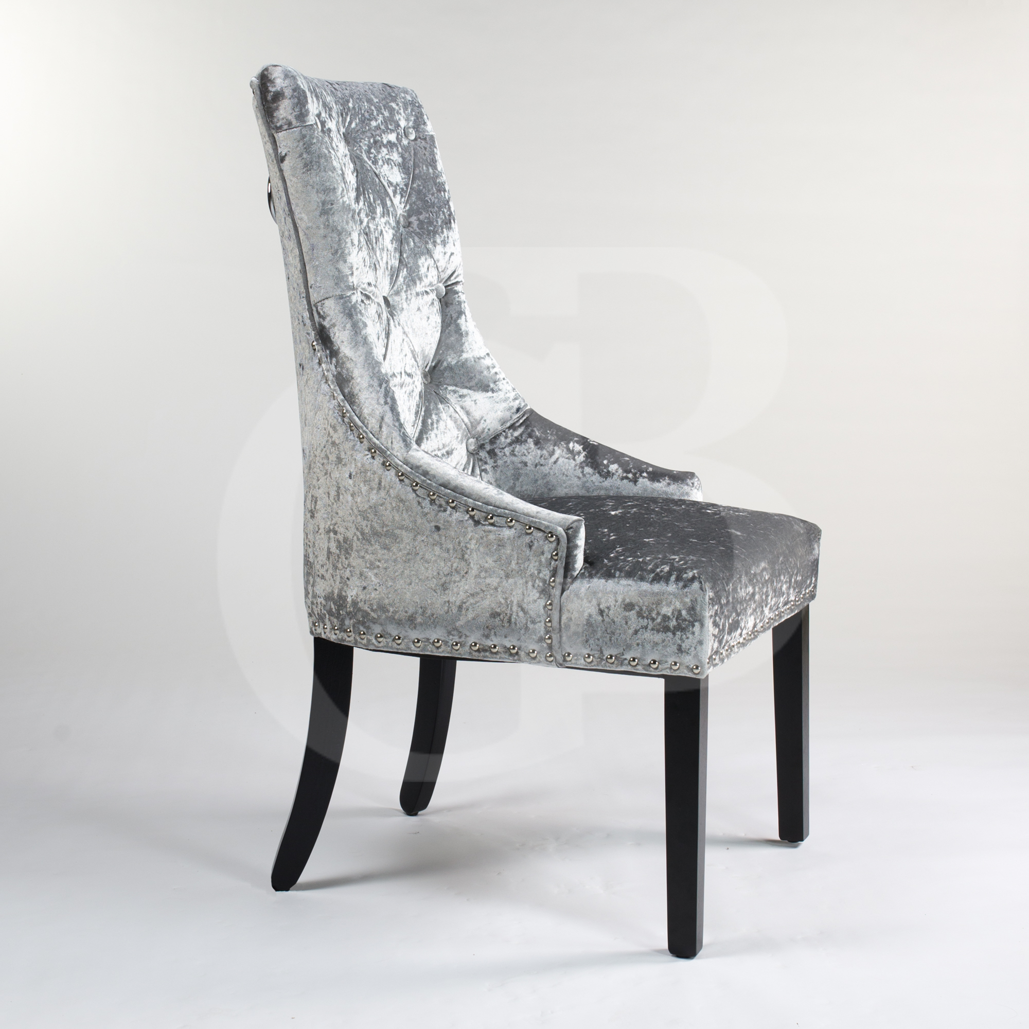 high back velvet chair uk patio cushions lowes silver upholstered crushed dining with chrome