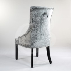 High Back Velvet Chair Uk Outdoor Side Chairs Silver Upholstered Crushed Dining With Chrome