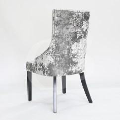 High Back Velvet Chair Uk Craigslist Barber Chairs Egb80 Gh New Premium Silver Crushed Ascot Hoop