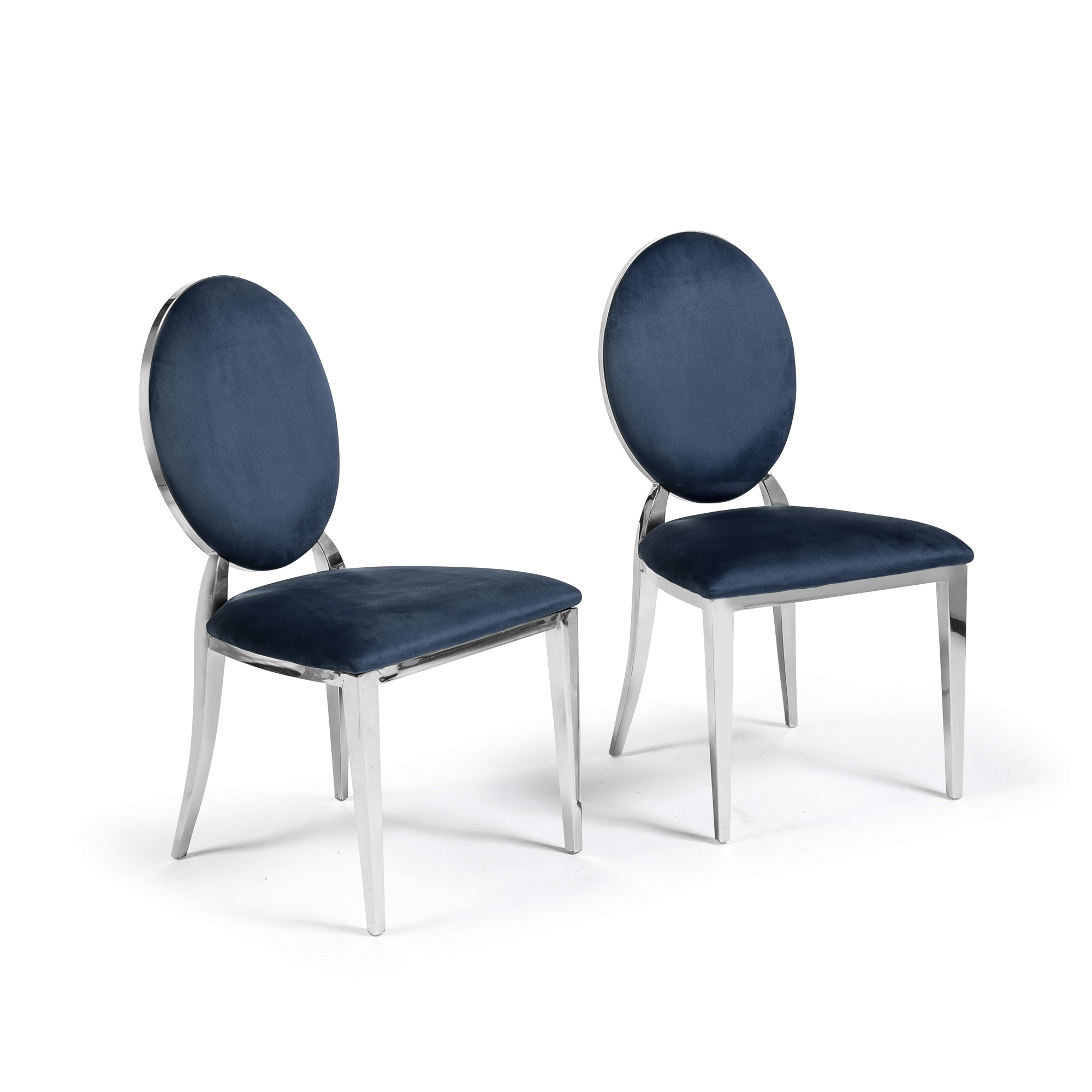 Blue Dining Chairs 2m Louis Polished Steel Dining White Glass Table Set With 6 Louis Blue Dining Chairs