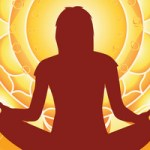 yoga asana silhouette on golden mandala background