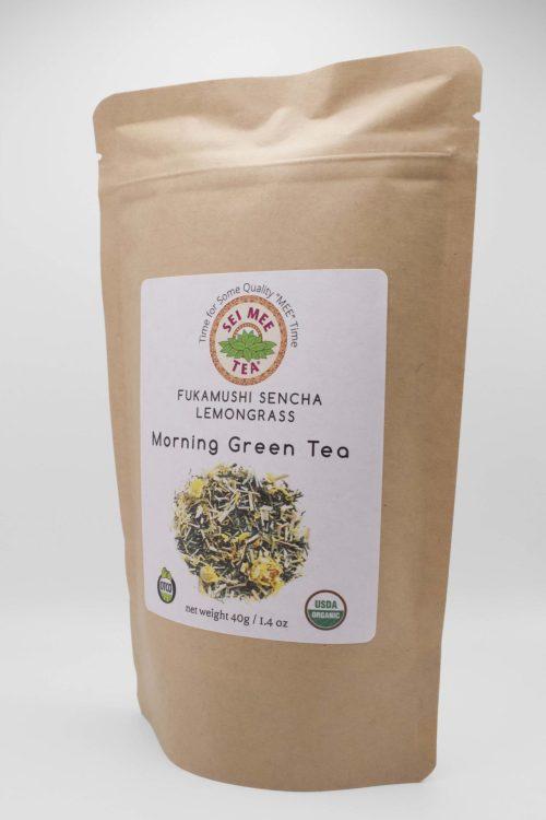 Fukamushi Sencha Lemongrass Loose Leaf Tea Side